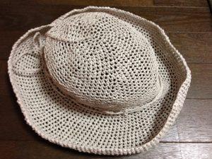 リーフィーで編む麦わら帽子(完成)
