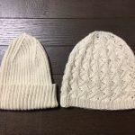 カシミア毛糸でニット帽2種